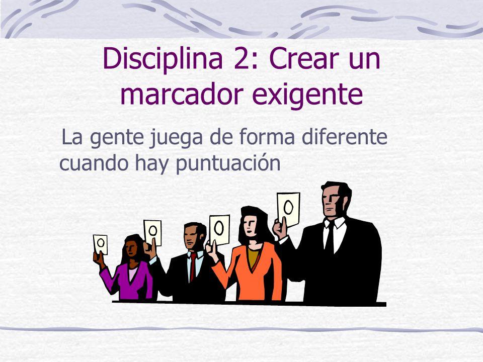Disciplina 2: Crear un marcador exigente La gente juega de forma diferente cuando hay puntuación
