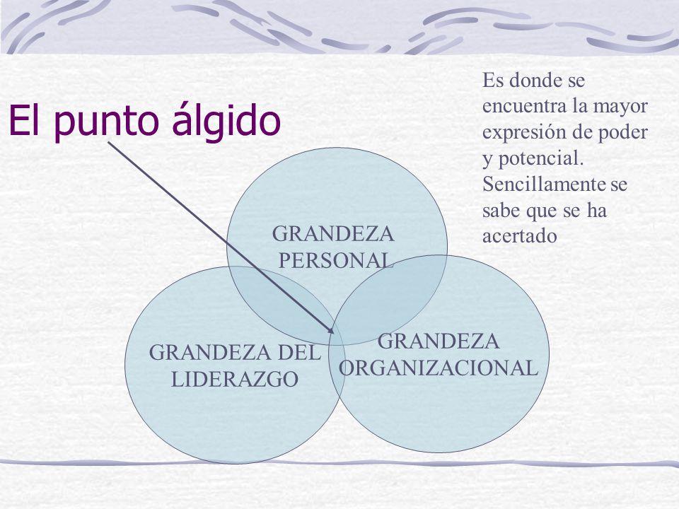 El punto álgido GRANDEZA DEL LIDERAZGO GRANDEZA PERSONAL GRANDEZA ORGANIZACIONAL Es donde se encuentra la mayor expresión de poder y potencial.