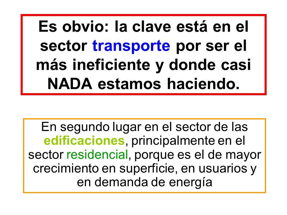 Es obvio: la clave está en el sector transporte por ser el más ineficiente y donde casi NADA estamos haciendo. En segundo lugar en el sector de las ed