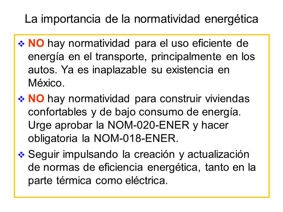 La importancia de la normatividad energética NO hay normatividad para el uso eficiente de energía en el transporte, principalmente en los autos. Ya es