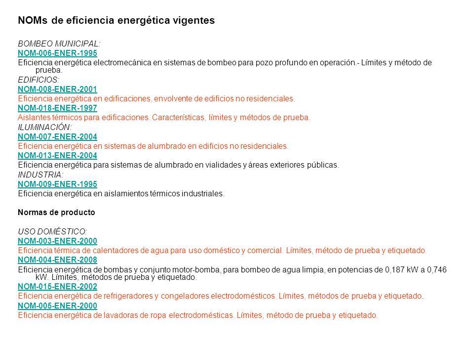 NOMs de eficiencia energética vigentes BOMBEO MUNICIPAL: NOM-006-ENER-1995 Eficiencia energética electromecánica en sistemas de bombeo para pozo profu