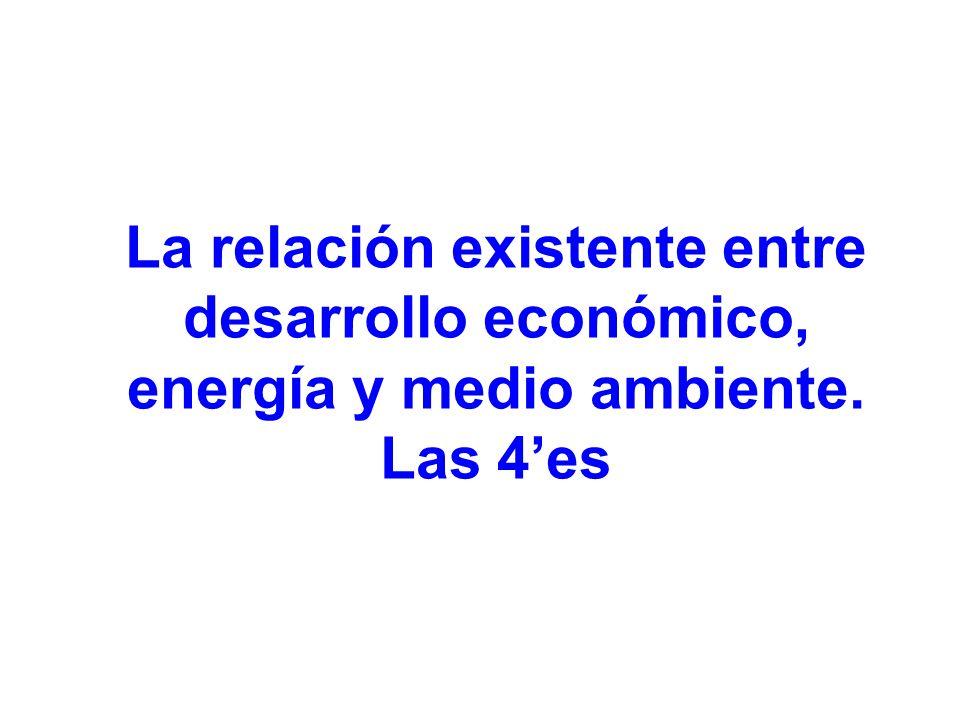 La relación existente entre desarrollo económico, energía y medio ambiente. Las 4es