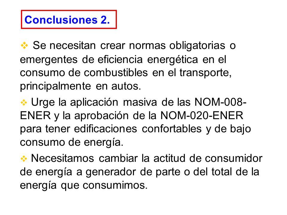 Conclusiones 2. Se necesitan crear normas obligatorias o emergentes de eficiencia energética en el consumo de combustibles en el transporte, principal
