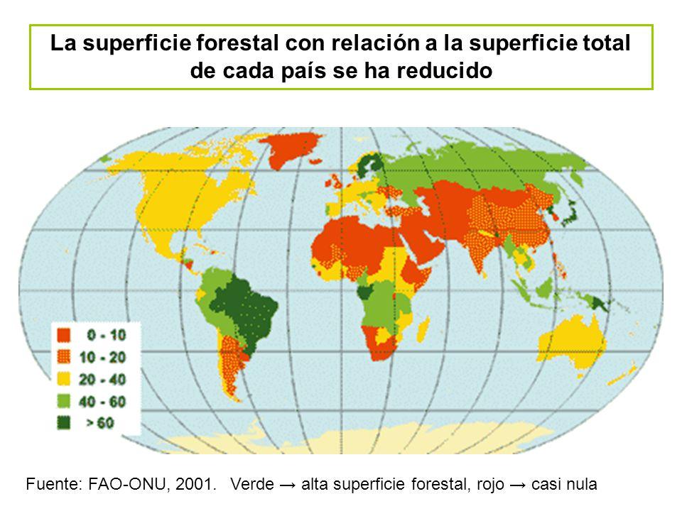 La superficie forestal con relación a la superficie total de cada país se ha reducido Fuente: FAO-ONU, 2001. Verde alta superficie forestal, rojo casi