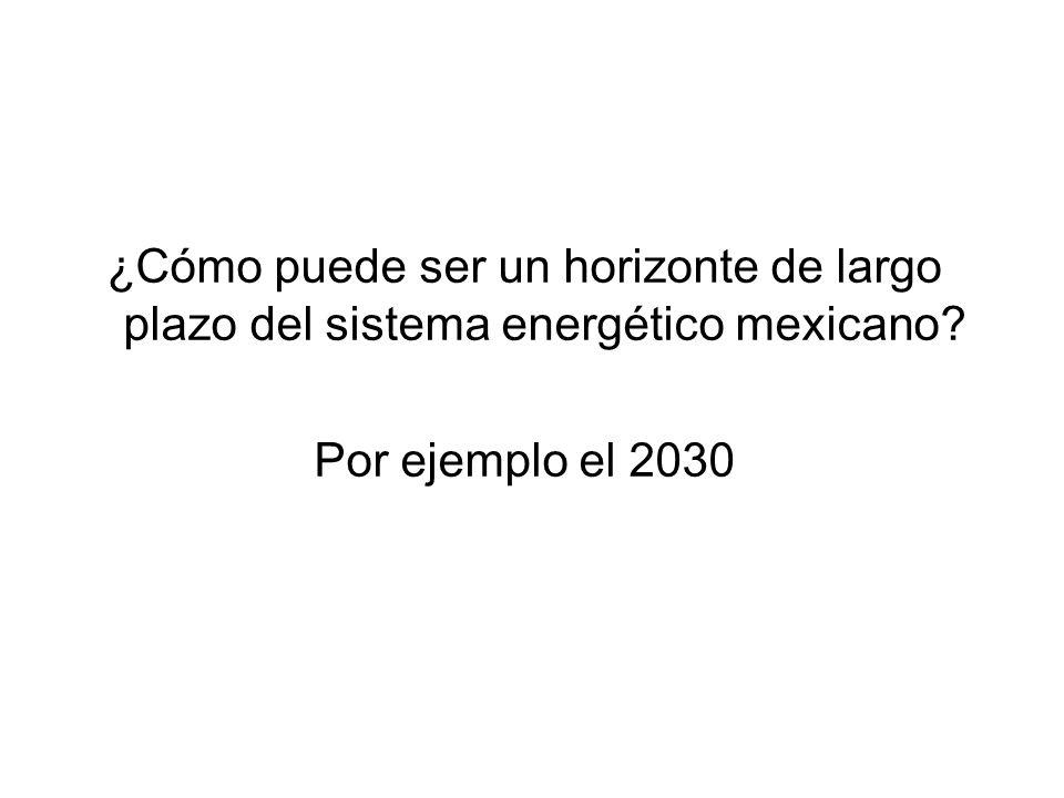 ¿Cómo puede ser un horizonte de largo plazo del sistema energético mexicano? Por ejemplo el 2030