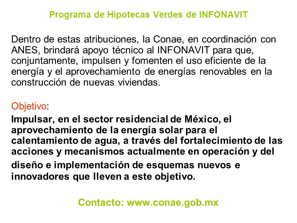 Programa de Hipotecas Verdes de INFONAVIT Dentro de estas atribuciones, la Conae, en coordinación con ANES, brindará apoyo técnico al INFONAVIT para q