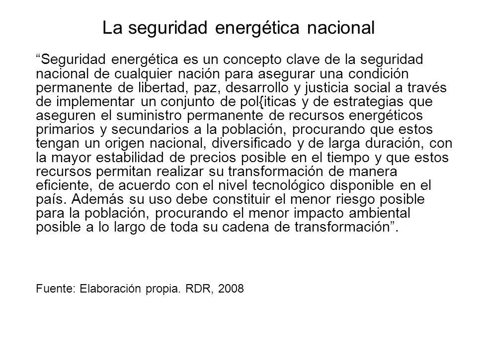 La seguridad energética nacional Seguridad energética es un concepto clave de la seguridad nacional de cualquier nación para asegurar una condición pe
