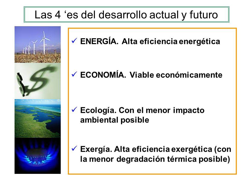 Las 4 es del desarrollo actual y futuro ENERGÍA. Alta eficiencia energética ECONOMÍA. Viable económicamente Ecología. Con el menor impacto ambiental p