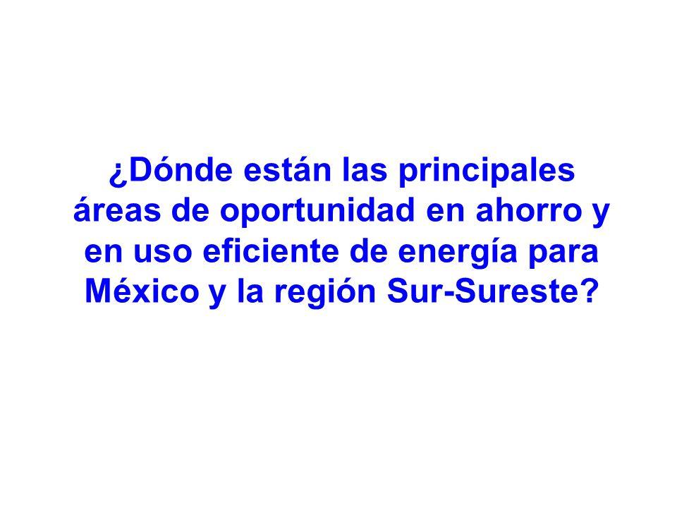 ¿Dónde están las principales áreas de oportunidad en ahorro y en uso eficiente de energía para México y la región Sur-Sureste?