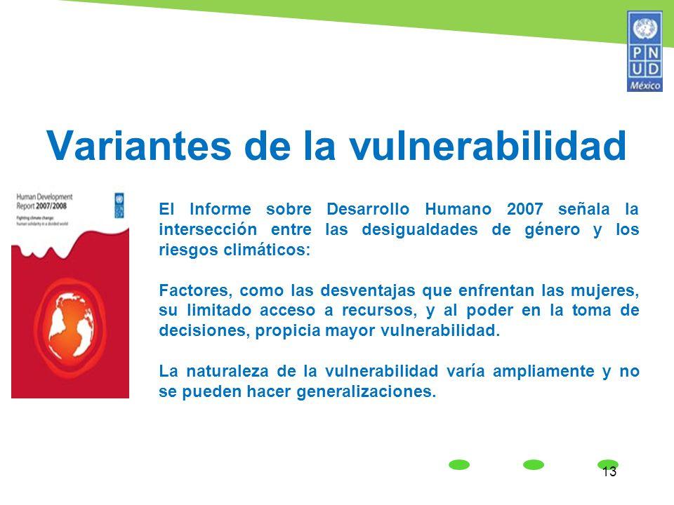 Variantes de la vulnerabilidad 13 El Informe sobre Desarrollo Humano 2007 señala la intersección entre las desigualdades de género y los riesgos climá
