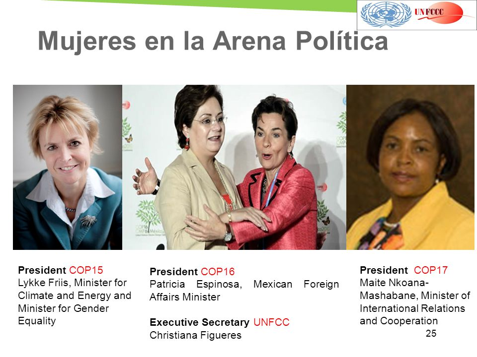 Mujeres en la Arena Política President COP16 Patricia Espinosa, Mexican Foreign Affairs Minister Executive Secretary UNFCC Christiana Figueres Preside