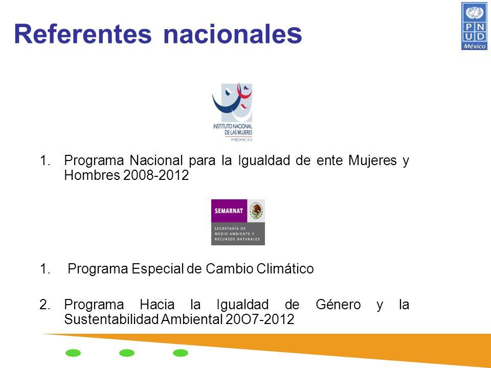 Referentes nacionale s 1.Programa Nacional para la Igualdad de ente Mujeres y Hombres 2008-2012 1. Programa Especial de Cambio Climático 2.Programa Ha