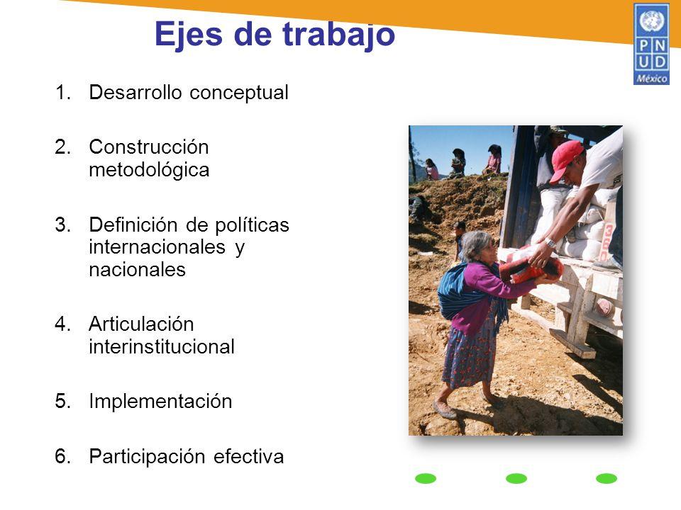 1.Desarrollo conceptual 2.Construcción metodológica 3.Definición de políticas internacionales y nacionales 4.Articulación interinstitucional 5.Impleme
