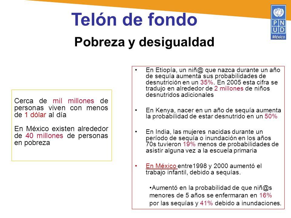 Pobreza y desigualdad Telón de fondo Cerca de mil millones de personas viven con menos de 1 dólar al día En México existen alrededor de 40 millones de