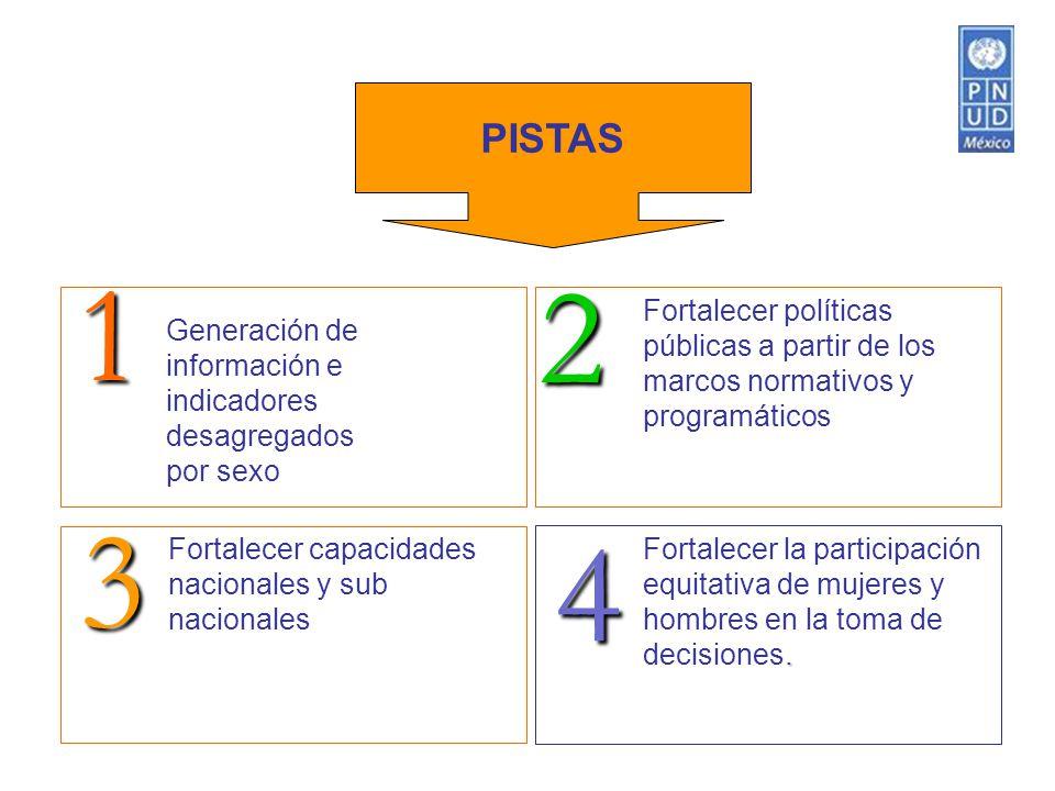 . Fortalecer la participación equitativa de mujeres y hombres en la toma de decisiones. Fortalecer capacidades nacionales y sub nacionales Fortalecer