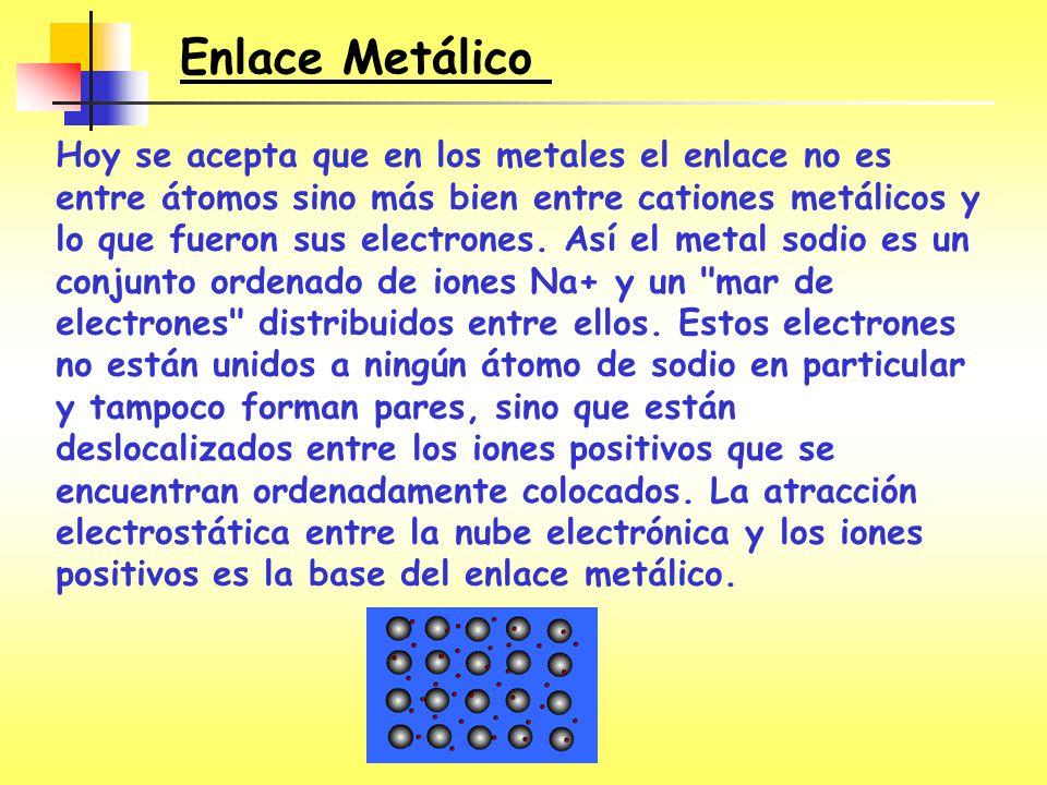 Enlace Metálico Hoy se acepta que en los metales el enlace no es entre átomos sino más bien entre cationes metálicos y lo que fueron sus electrones. A