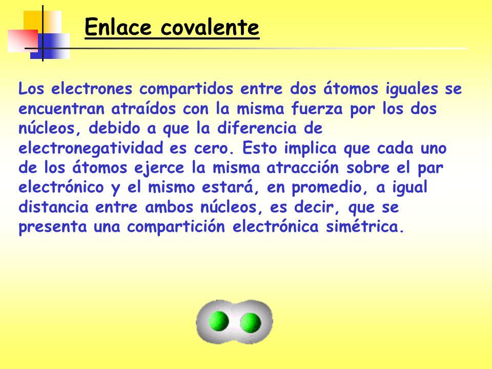 Enlace covalente Los electrones compartidos entre dos átomos iguales se encuentran atraídos con la misma fuerza por los dos núcleos, debido a que la d