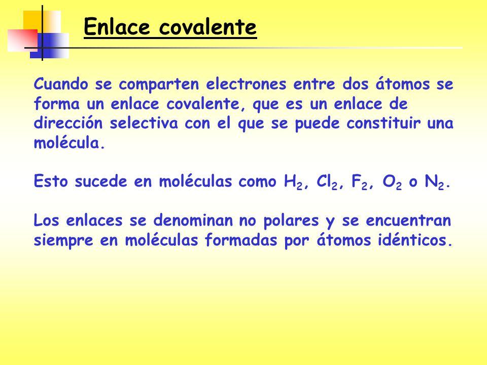 Cuando se comparten electrones entre dos átomos se forma un enlace covalente, que es un enlace de dirección selectiva con el que se puede constituir u