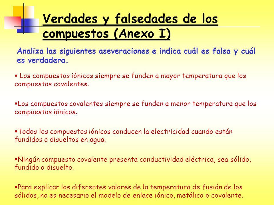 Verdades y falsedades de los compuestos (Anexo I) Analiza las siguientes aseveraciones e indica cuál es falsa y cuál es verdadera. Los compuestos ióni