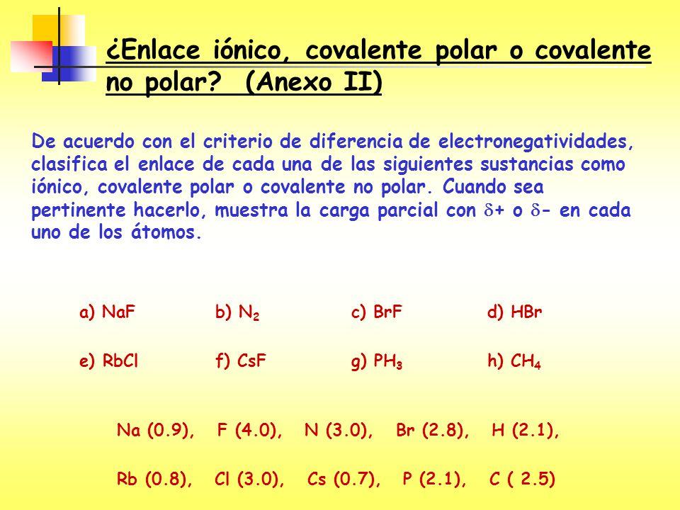 ¿Enlace iónico, covalente polar o covalente no polar? (Anexo II) De acuerdo con el criterio de diferencia de electronegatividades, clasifica el enlace