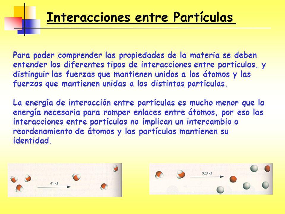 Para poder comprender las propiedades de la materia se deben entender los diferentes tipos de interacciones entre partículas, y distinguir las fuerzas