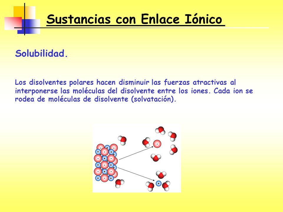 Solubilidad. Los disolventes polares hacen disminuir las fuerzas atractivas al interponerse las moléculas del disolvente entre los iones. Cada ion se