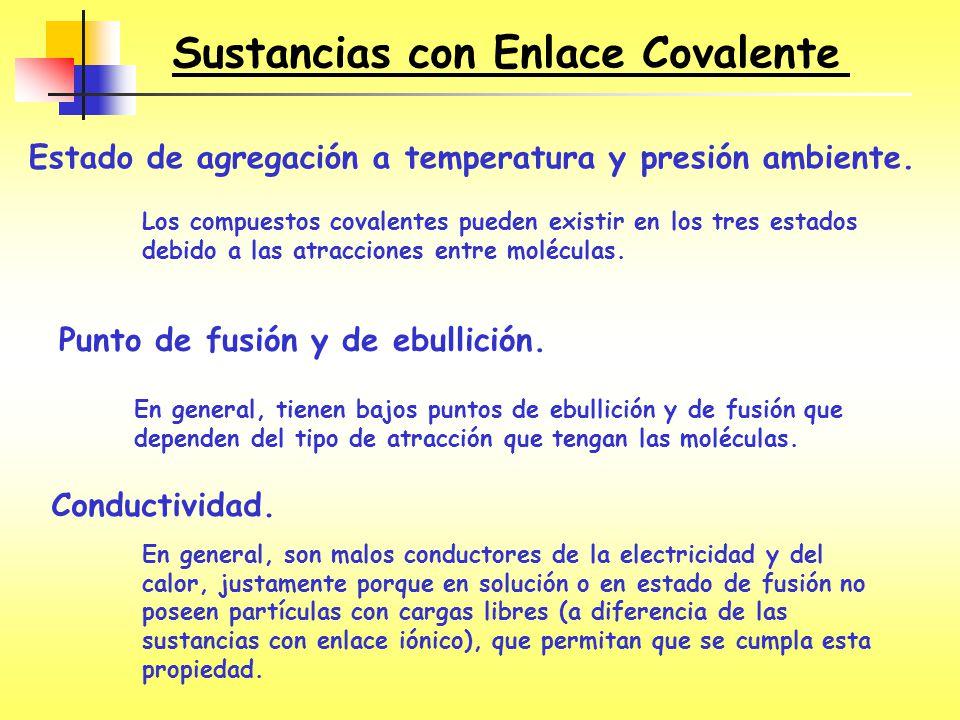 Sustancias con Enlace Covalente Estado de agregación a temperatura y presión ambiente. Los compuestos covalentes pueden existir en los tres estados de