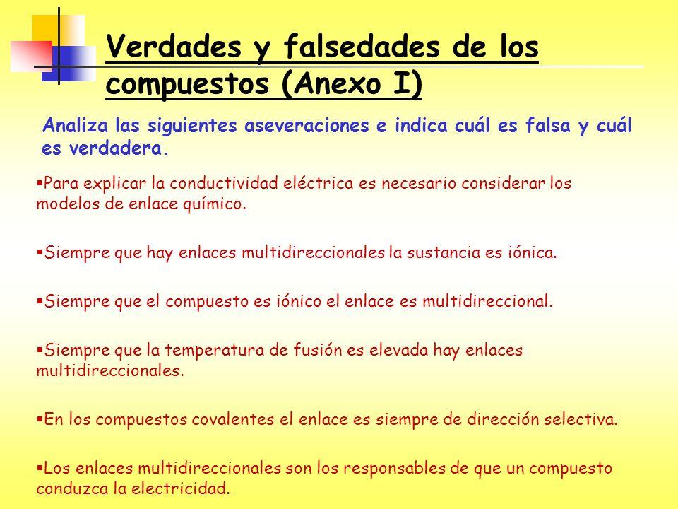 Verdades y falsedades de los compuestos (Anexo I) Analiza las siguientes aseveraciones e indica cuál es falsa y cuál es verdadera. Para explicar la co