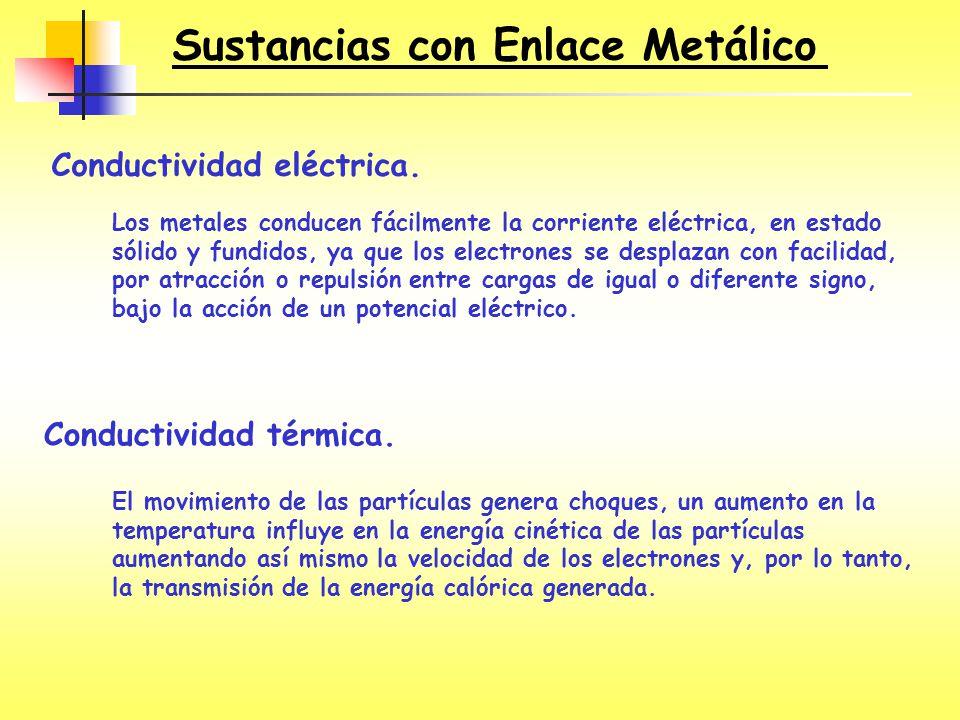 Conductividad eléctrica. Los metales conducen fácilmente la corriente eléctrica, en estado sólido y fundidos, ya que los electrones se desplazan con f
