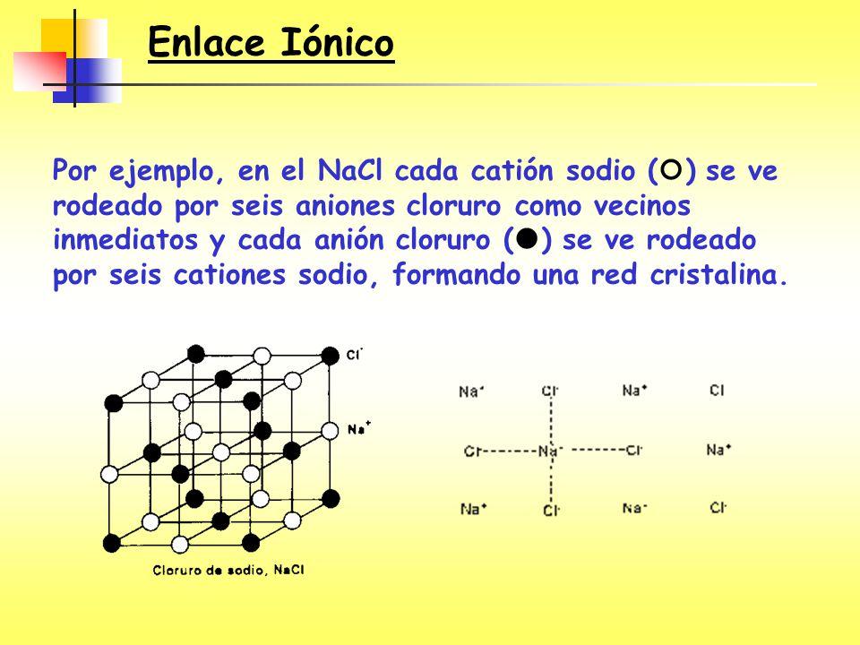 Por ejemplo, en el NaCl cada catión sodio ( ) se ve rodeado por seis aniones cloruro como vecinos inmediatos y cada anión cloruro ( ) se ve rodeado po