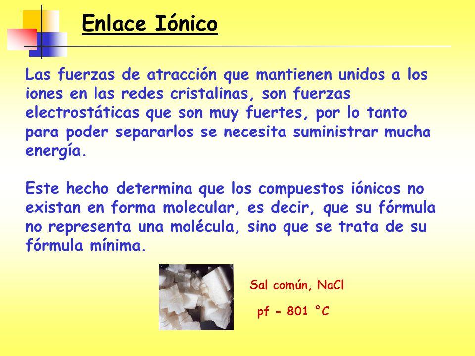 ¿Enlace iónico, covalente polar o covalente no polar.