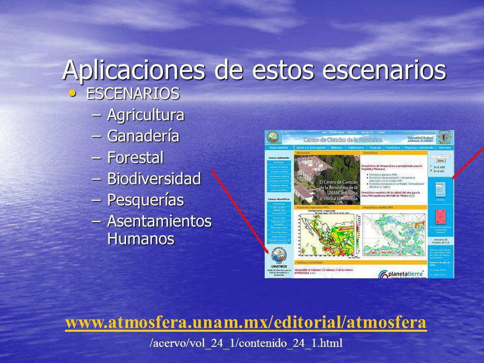 Aplicaciones de estos escenarios ESCENARIOS ESCENARIOS –Agricultura –Ganadería –Forestal –Biodiversidad –Pesquerías –Asentamientos Humanos www.atmosfe