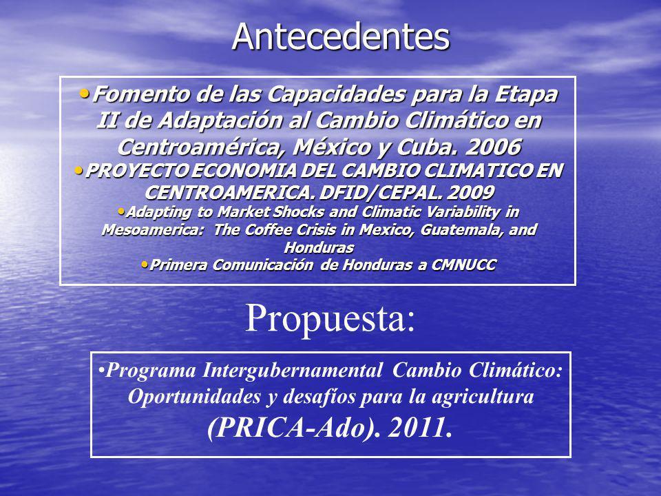 Antecedentes Fomento de las Capacidades para la Etapa II de Adaptación al Cambio Climático en Centroamérica, México y Cuba. 2006 Fomento de las Capaci