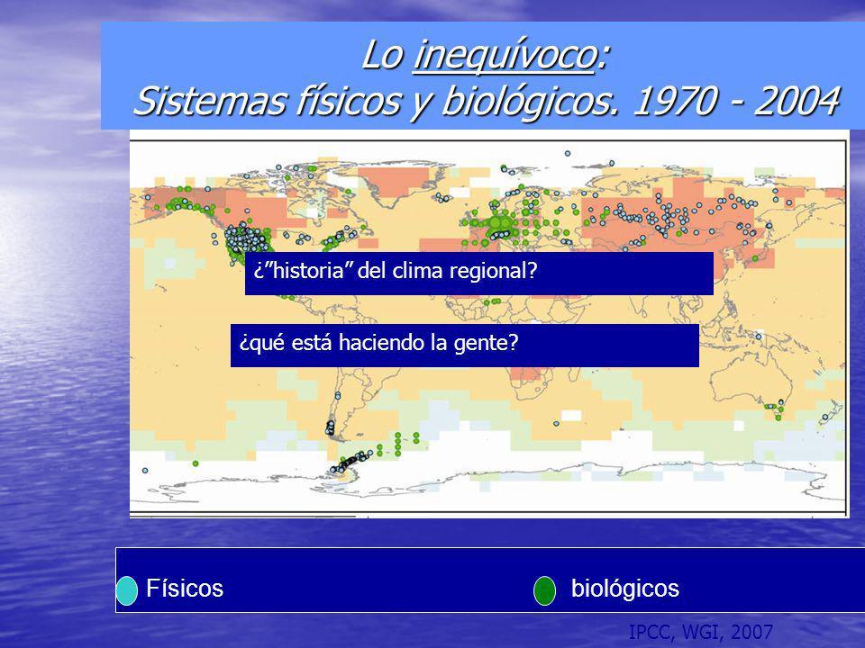 Lo inequívoco: Sistemas físicos y biológicos. 1970 - 2004 Físicosbiológicos IPCC, WGI, 2007 ¿qué está haciendo la gente? ¿historia del clima regional?