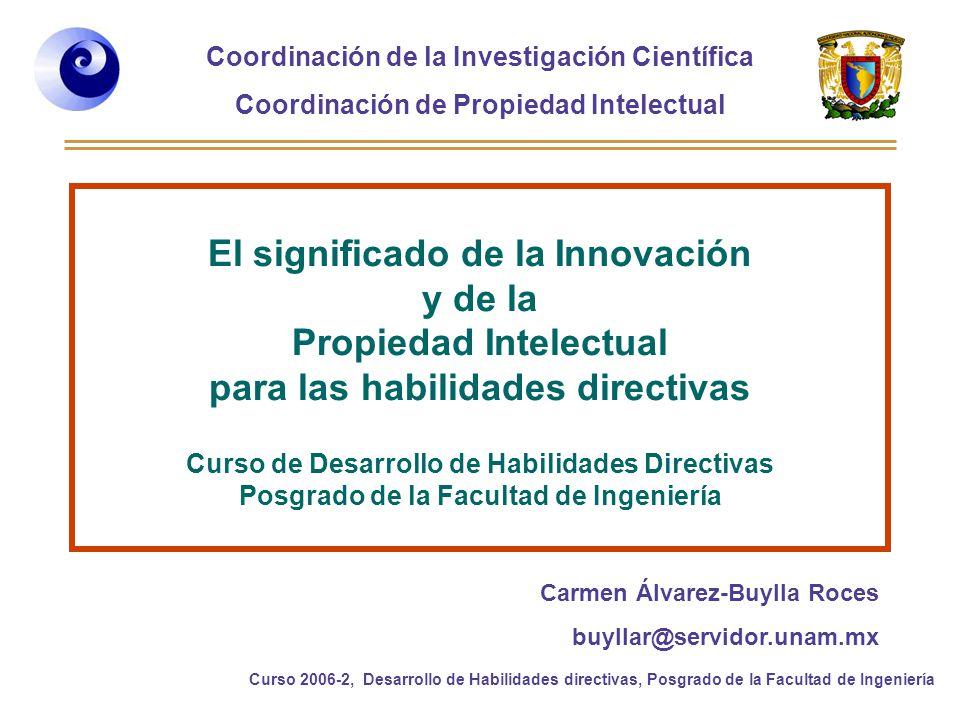 Coordinación de la Investigación Científica Coordinación de Propiedad Intelectual Curso 2006-2, Desarrollo de Habilidades directivas, Posgrado de la Facultad de Ingeniería ¿Por qué buscar información en patentes.