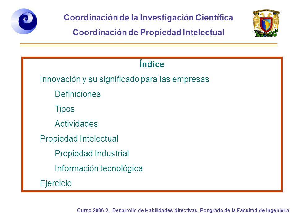 Coordinación de la Investigación Científica Coordinación de Propiedad Intelectual Curso 2006-2, Desarrollo de Habilidades directivas, Posgrado de la Facultad de Ingeniería Índice Innovación y su significado para las empresas Definiciones Tipos Actividades Propiedad Intelectual Propiedad Industrial Información tecnológica Ejercicio