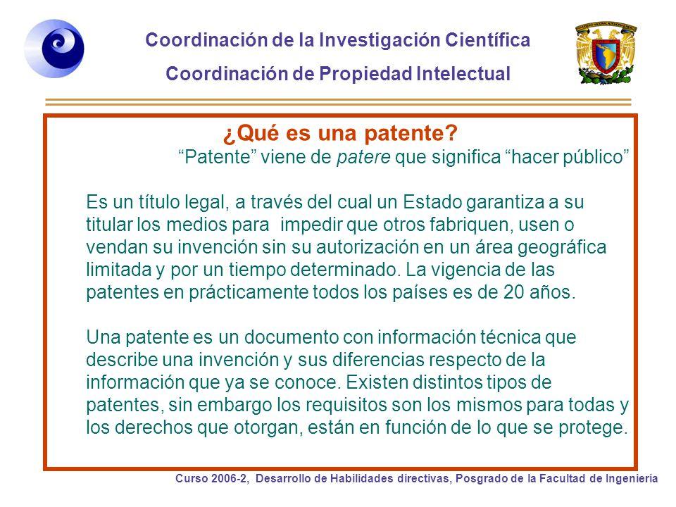 Coordinación de la Investigación Científica Coordinación de Propiedad Intelectual Curso 2006-2, Desarrollo de Habilidades directivas, Posgrado de la Facultad de Ingeniería ¿Qué es una patente.