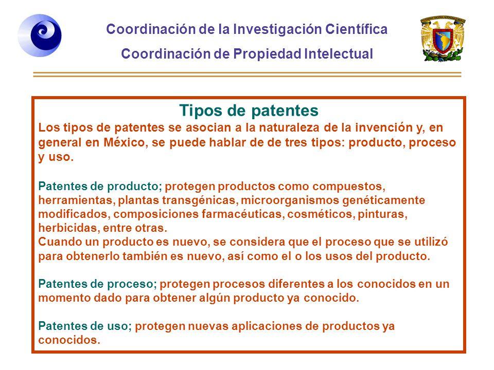 Coordinación de la Investigación Científica Coordinación de Propiedad Intelectual Curso 2006-2, Desarrollo de Habilidades directivas, Posgrado de la Facultad de Ingeniería Tipos de patentes Los tipos de patentes se asocian a la naturaleza de la invención y, en general en México, se puede hablar de de tres tipos: producto, proceso y uso.