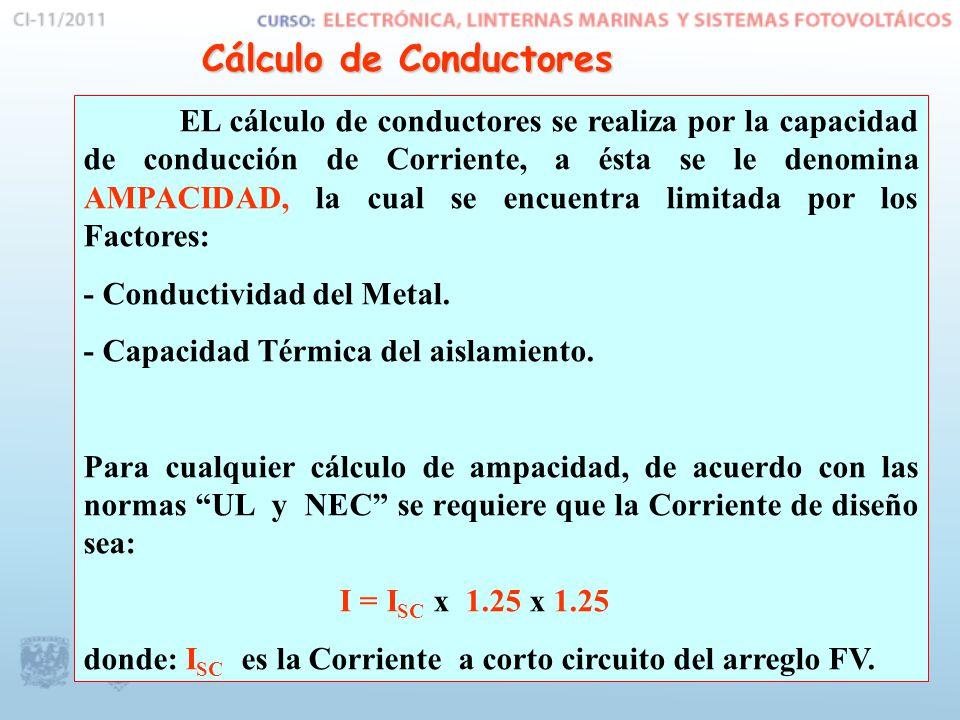 Cálculo de Conductores EL cálculo de conductores se realiza por la capacidad de conducción de Corriente, a ésta se le denomina AMPACIDAD, la cual se e