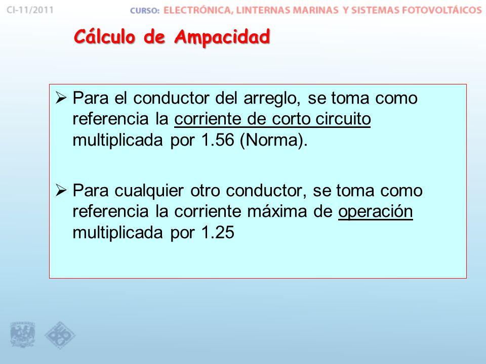 Cálculo de Ampacidad Para el conductor del arreglo, se toma como referencia la corriente de corto circuito multiplicada por 1.56 (Norma). Para cualqui