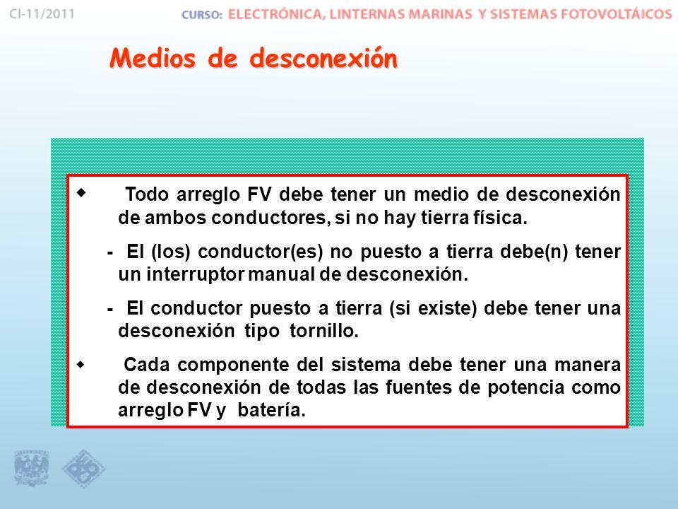 Medios de desconexión Todo arreglo FV debe tener un medio de desconexión de ambos conductores, si no hay tierra física. - El (los) conductor(es) no pu