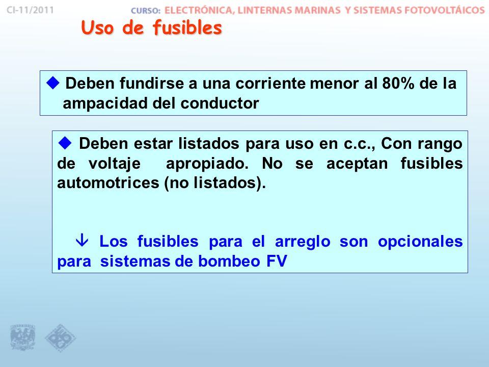 Uso de fusibles Deben fundirse a una corriente menor al 80% de la ampacidad del conductor Deben estar listados para uso en c.c., Con rango de voltaje