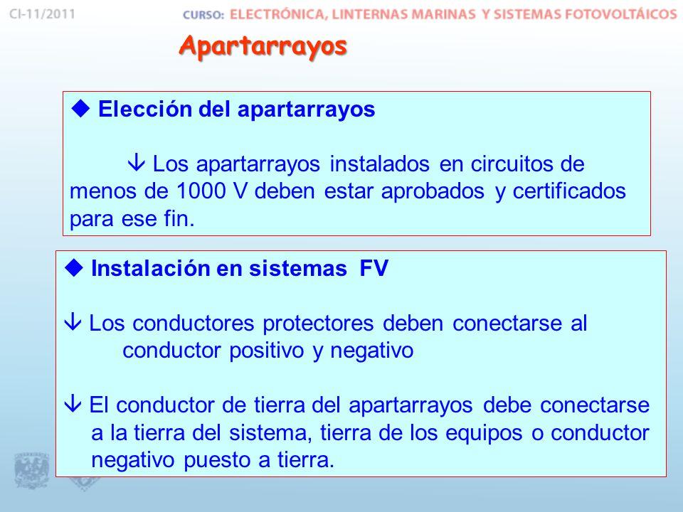 Apartarrayos Apartarrayos Elección del apartarrayos Los apartarrayos instalados en circuitos de menos de 1000 V deben estar aprobados y certificados p