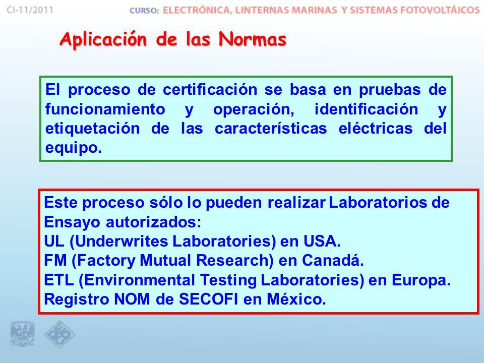 Aplicación de las Normas Este proceso sólo lo pueden realizar Laboratorios de Ensayo autorizados: UL (Underwrites Laboratories) en USA. FM (Factory Mu