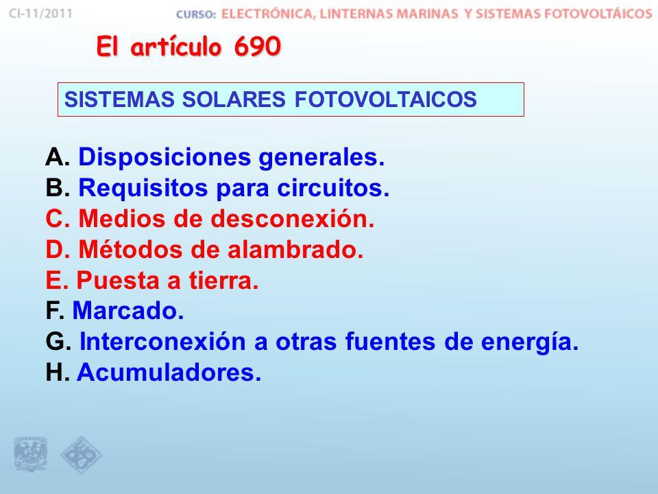 El artículo 690 SISTEMAS SOLARES FOTOVOLTAICOS A. Disposiciones generales. B. Requisitos para circuitos. C. Medios de desconexión. D. Métodos de alamb