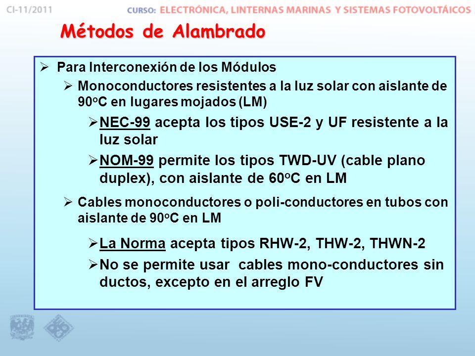 Para Interconexión de los Módulos Monoconductores resistentes a la luz solar con aislante de 90 o C en lugares mojados (LM) NEC-99 acepta los tipos US