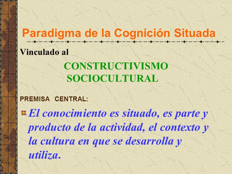 Paradigma de la Cognición Situada Vinculado al CONSTRUCTIVISMO SOCIOCULTURAL PREMISA CENTRAL: El conocimiento es situado, es parte y producto de la ac