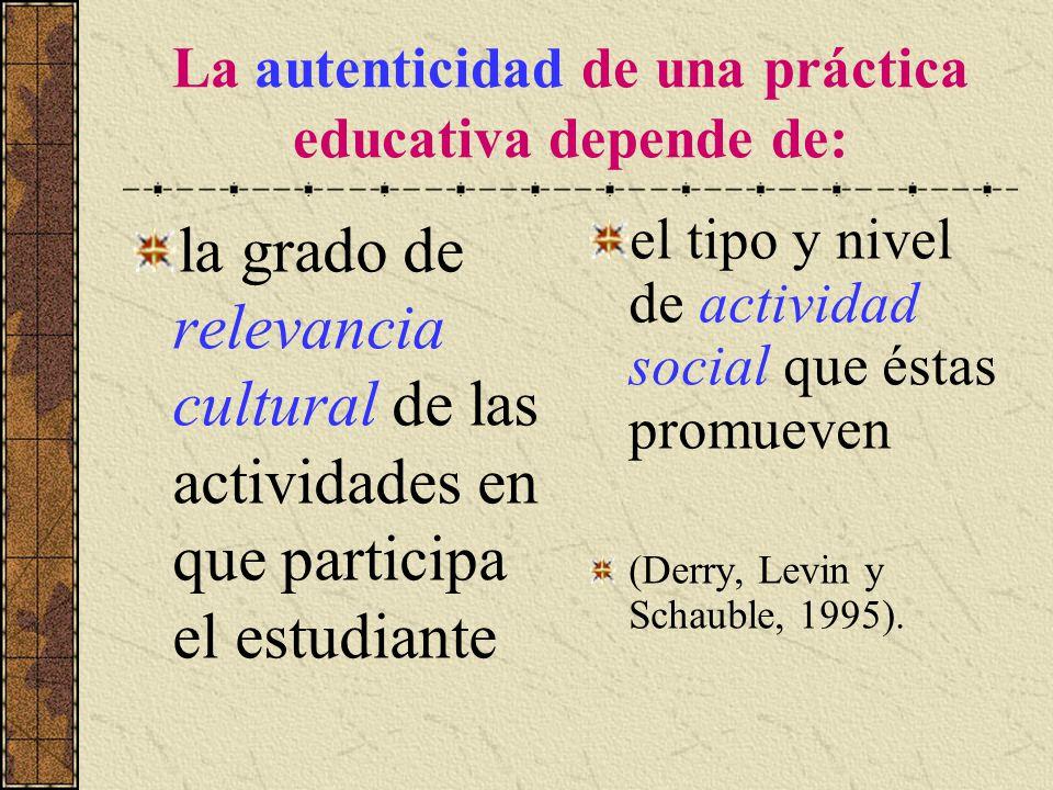 La autenticidad de una práctica educativa depende de: la grado de relevancia cultural de las actividades en que participa el estudiante el tipo y nive