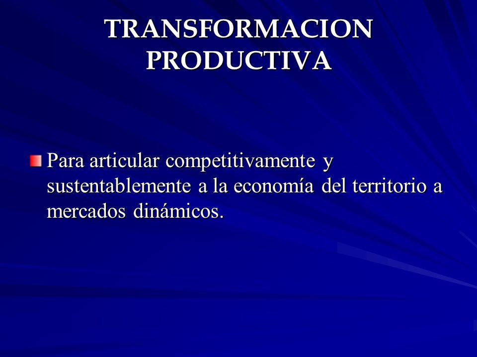 TRANSFORMACION PRODUCTIVA Para articular competitivamente y sustentablemente a la economía del territorio a mercados dinámicos.
