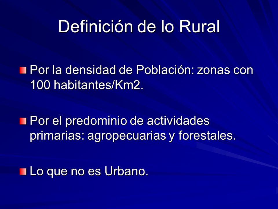 Definición de lo Rural Por la densidad de Población: zonas con 100 habitantes/Km2. Por el predominio de actividades primarias: agropecuarias y foresta
